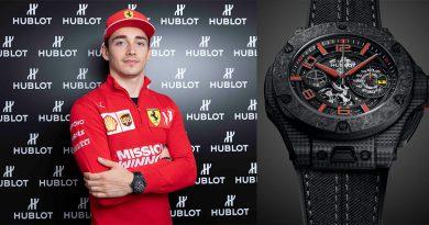 Leclerc wearing a Ferrari Hublot