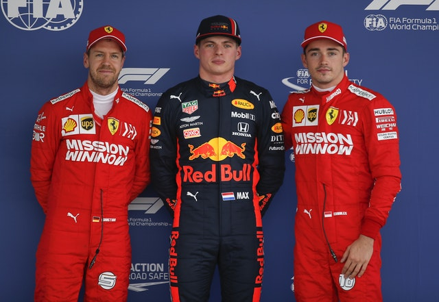 Sebastian Vettel and Charles Leclerc were second and third, respectively, behind Verstappen