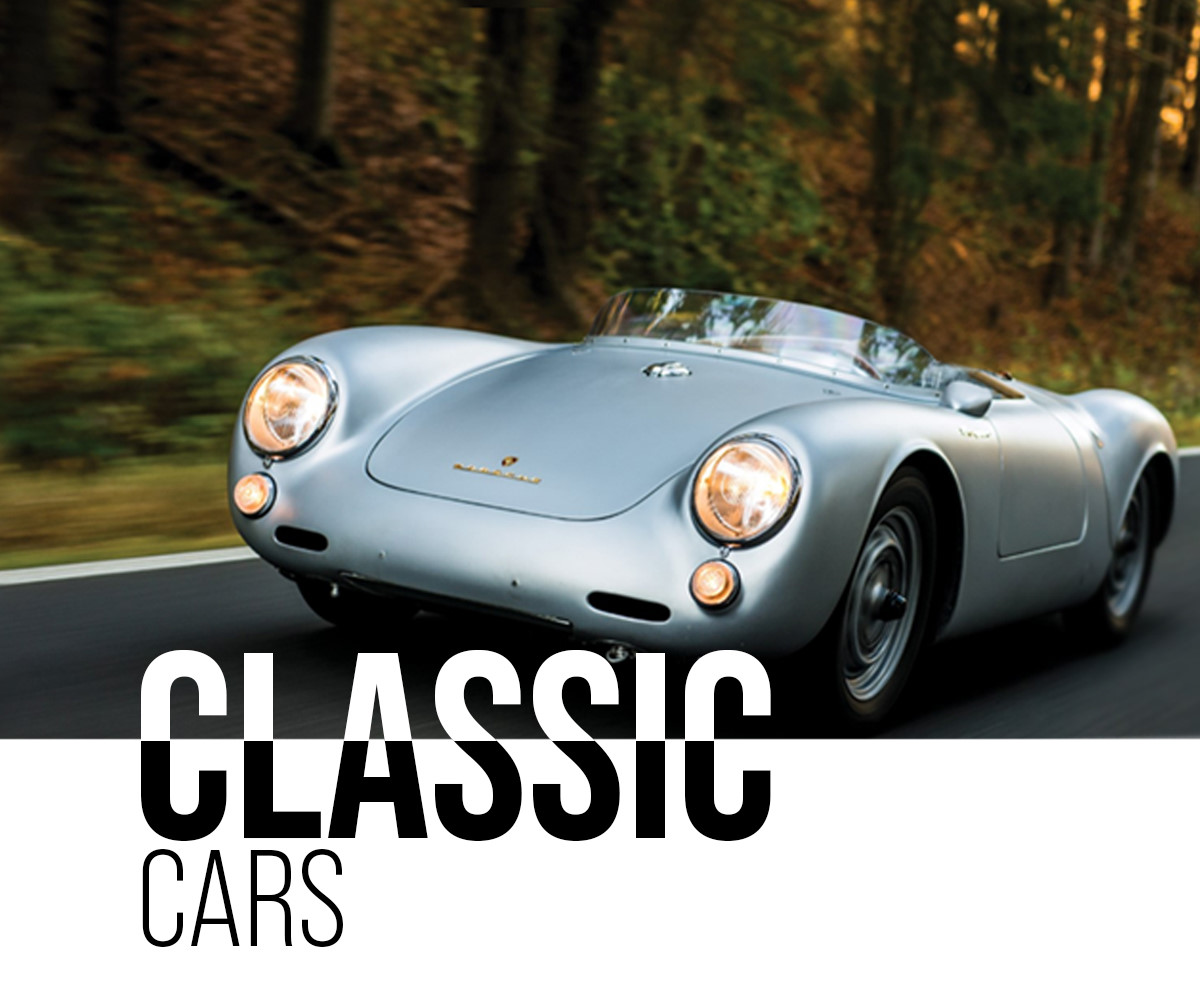 Classic cars for sale on Racing Edge banner on mobile