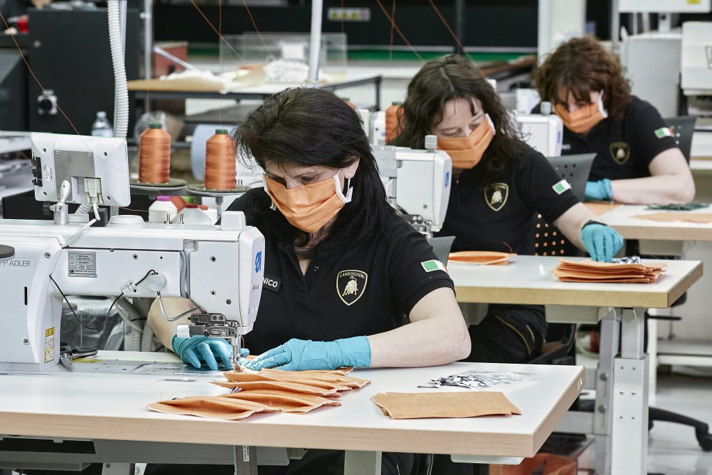 Lamborghini staff make face masks